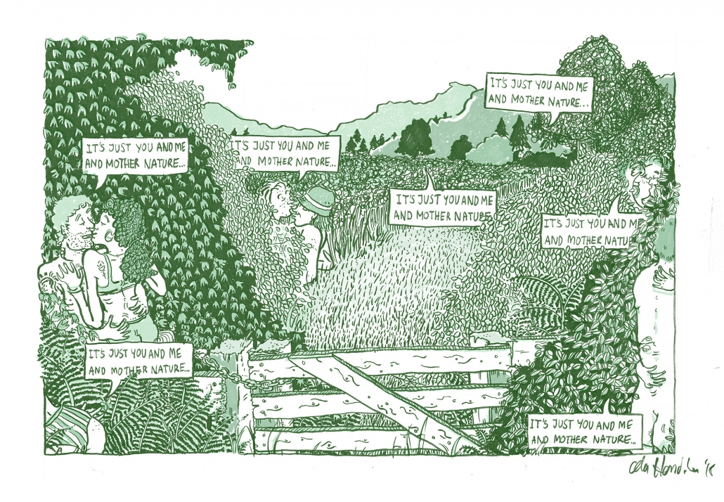 A two colour editorial illustration showing numerous couples making sweet love in the bushes thinking it is just them.