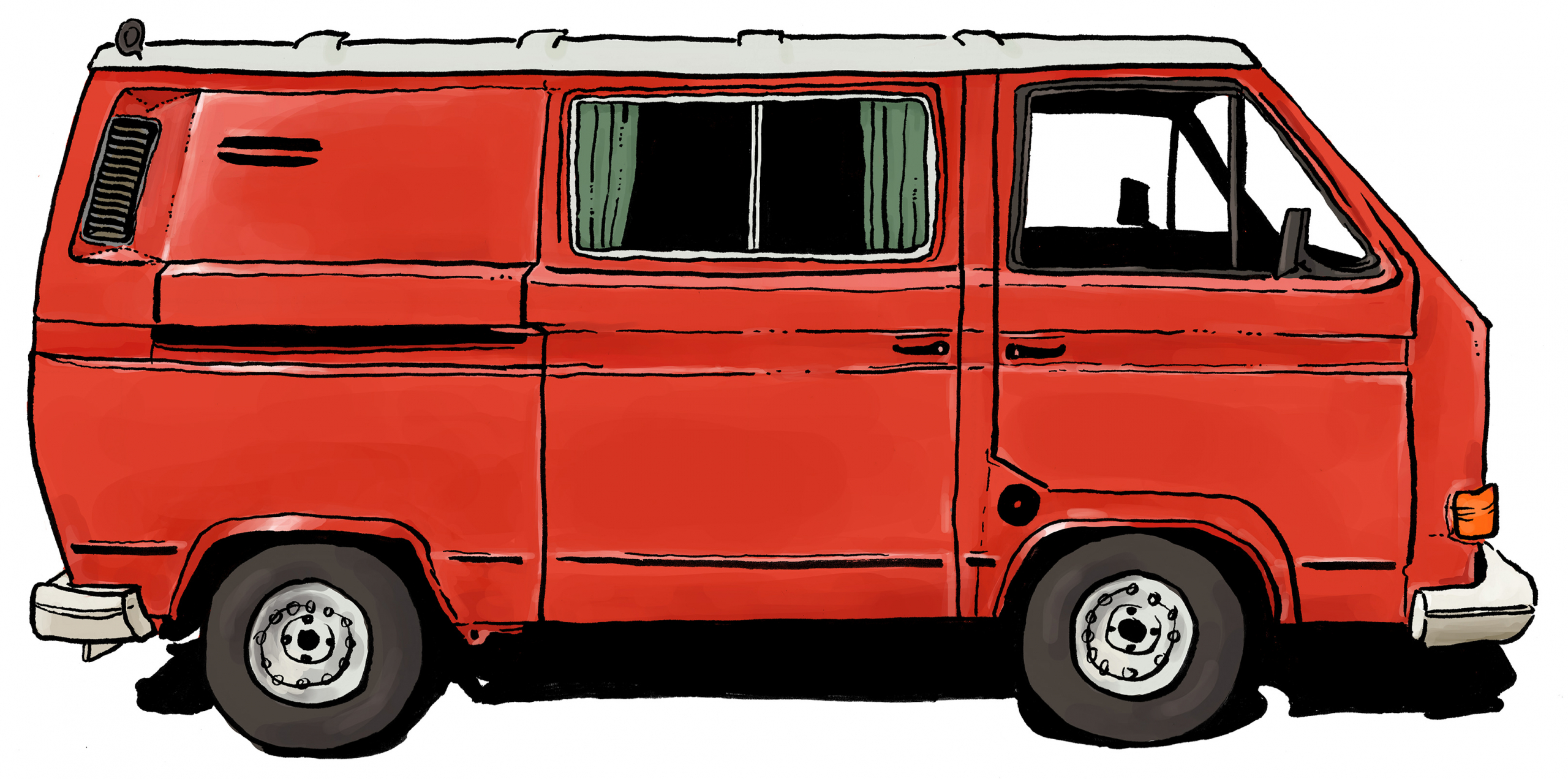 An older model red VW bus from the side. Within the large side door we see green curtains.
