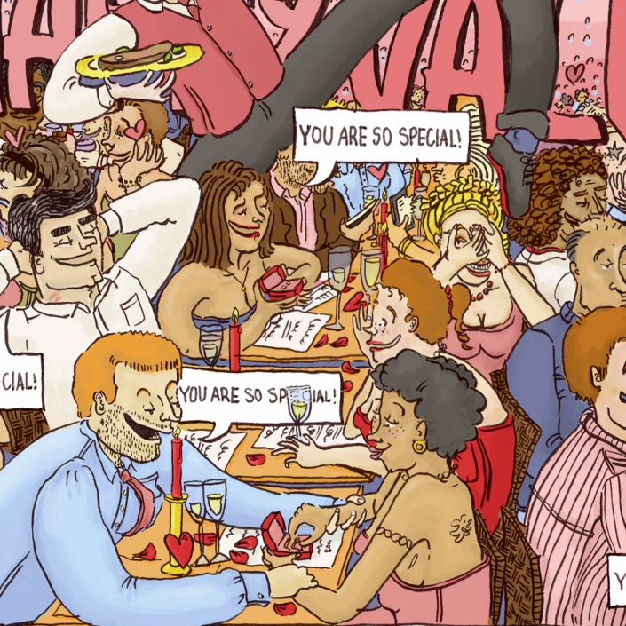 """Happy Valentine is an Image depicting a large group of couples in a restaurant on Valentines all saying """"You are so Special"""""""