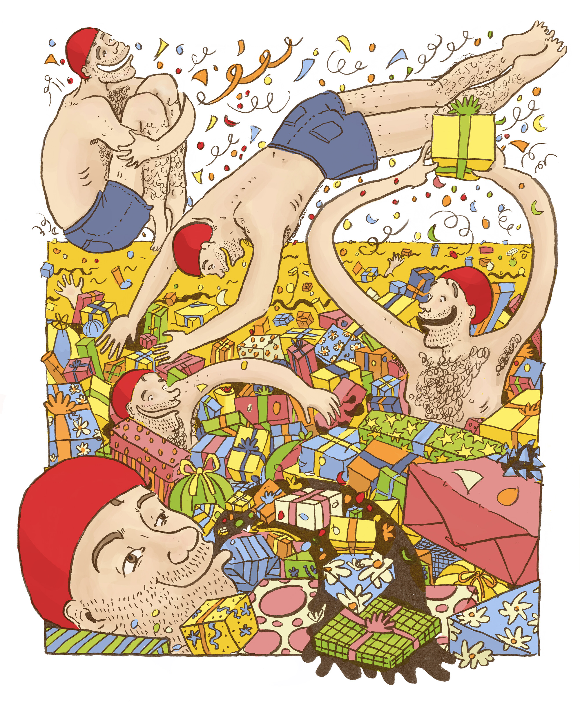 Birthday man jumping into a sea of presents. | Art direction and illustration by Ida Henrich