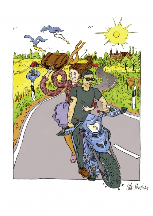 A man and woman are sitting on a motorcycle through lushes countryside. He is driving and she is waving her bag in the back seat. | Artwork & art direction by Ida Henrich