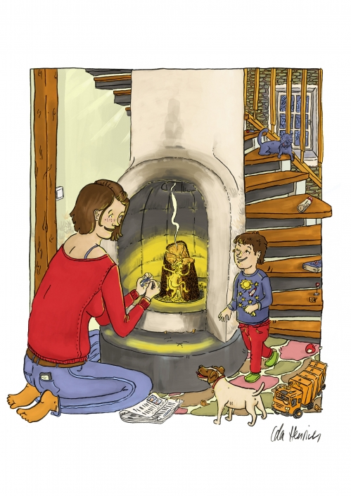 A woman speaking to her son as she is lighting a fire. The boy is coming down the stairs.