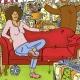Woman sitting on a speaking sofa for the German book Jenseits aller Erziehungsvorstellungen   Art direction and illustration by Ida Henrich