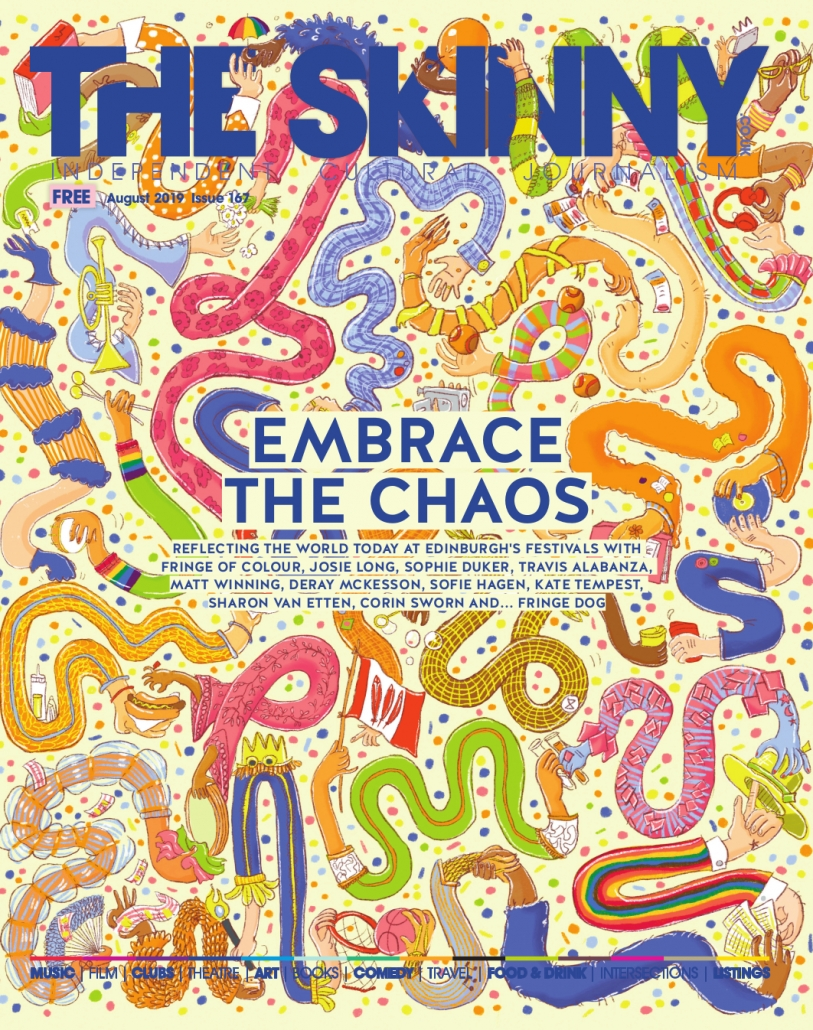 Festival issue cover, August '19, The Skinny. The many diverse arms create a pattern. The busy arms are playing balls, eating burgers, listening to music, using smart phones and much more. Artwork by Ida Henrich, Art Direction by Rachael Hood, Design by Fiona Hunter
