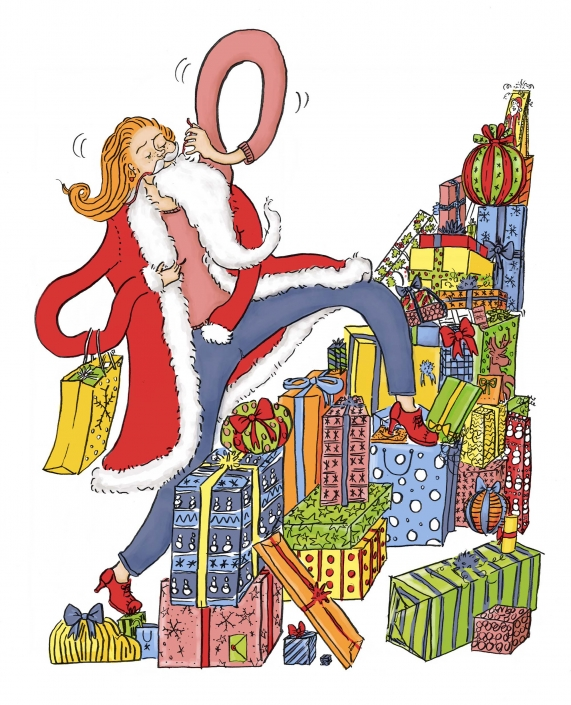 Woman walking through a pile of presents while putting one a santa mustache and red coat. She is wearing bright red heels.