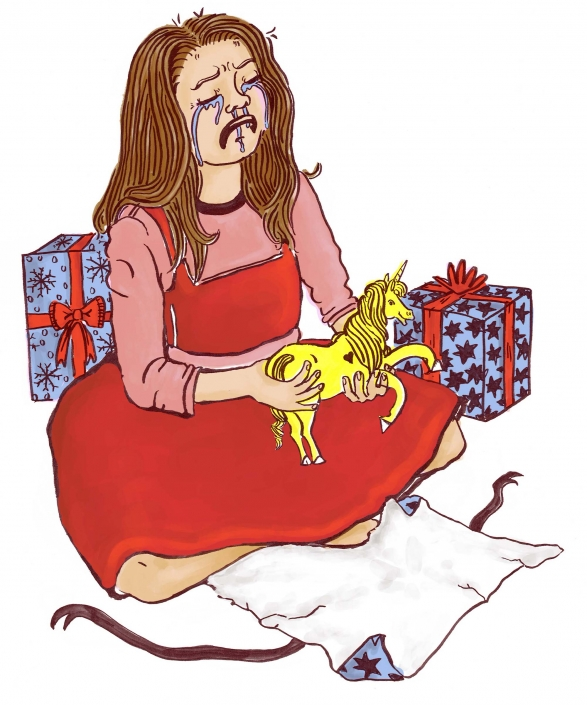 Crying child with a bright yellow unicorn. She got the wrong unicorn for Christmas. Behind her are more presents | Artwork by Ida Henrich