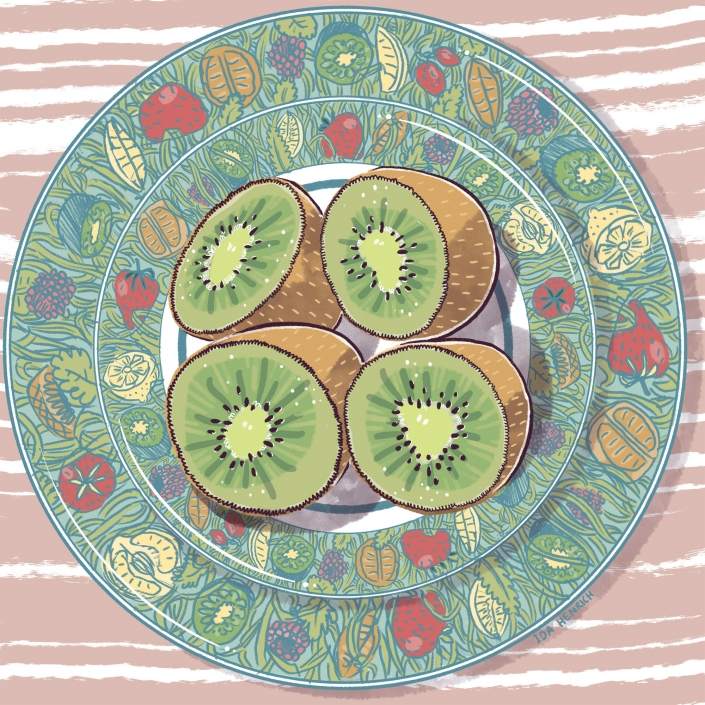 Image showing kiwi halves on a plate.