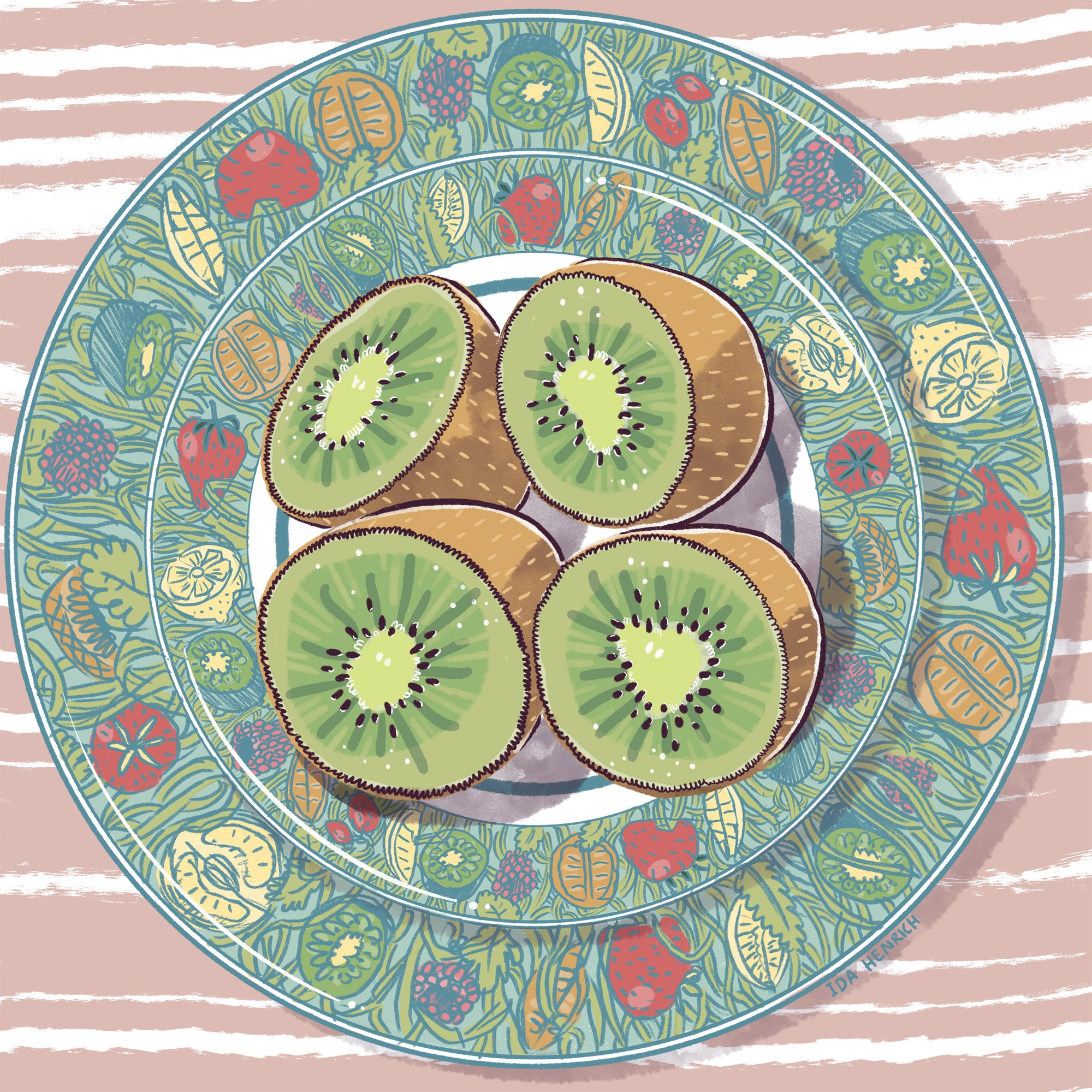 Image showing kiwi halves on a plate.