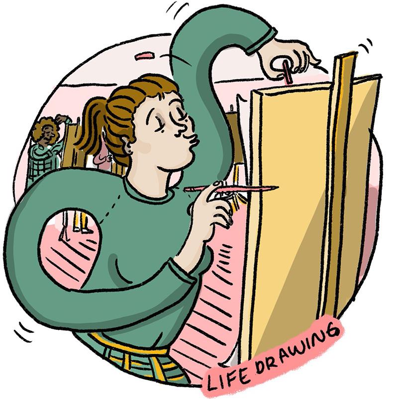 Ida doing some life drawing | cartoon by Ida Henrich