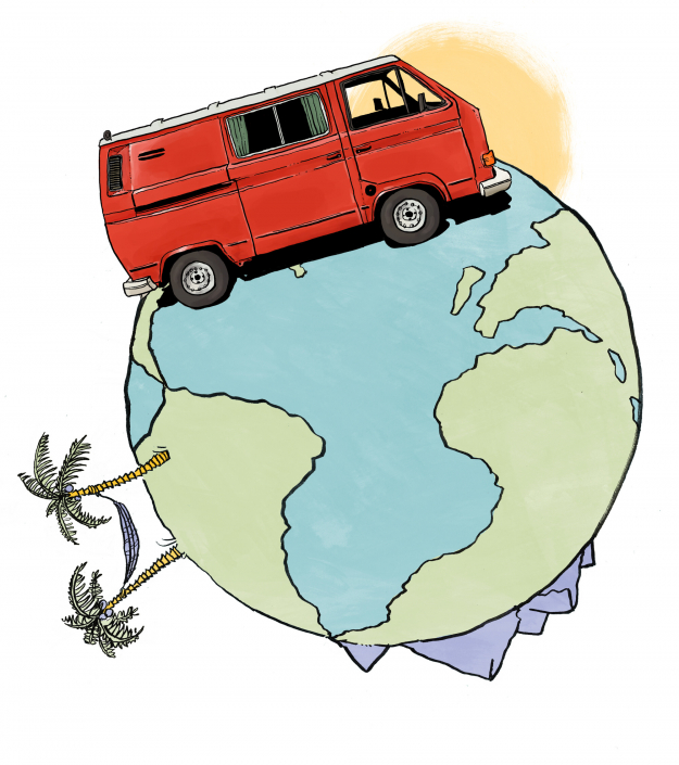 A VW van is standing on a small planet earth. On the planet are large palm trees and mountains. The planet is painted in water colours and the VW bus in bright red. Artwork and art direction by Ida Henrich