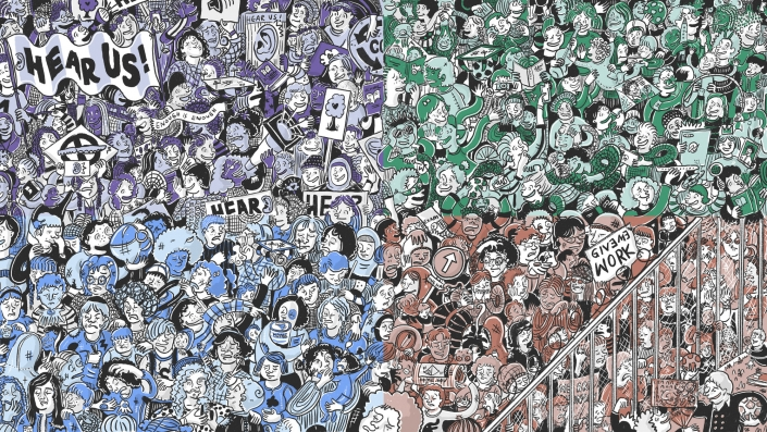 Illustration of crowds of children within different scenarios for child care in the future in England in 2035. The artwork is split into a purple, green, light blue and brown sections.   Artwork by Ida Henrich