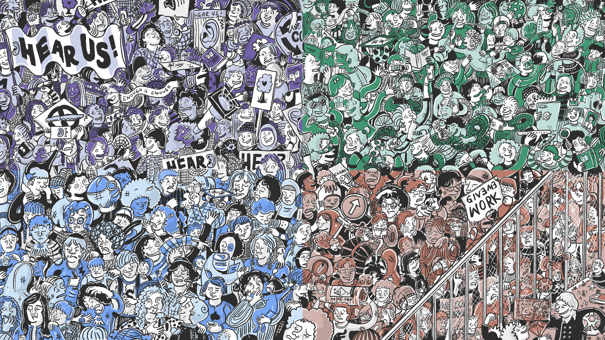 Illustration of crowds of children within different scenarios for child care in the future in England in 2035. The artwork is split into a purple, green, light blue and brown sections. | Artwork by Ida Henrich