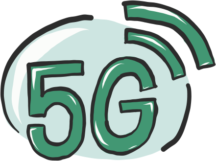 A vector illustration of a 5G icon for Project 2035 | Illustration and Art Direction by Ida Henrich