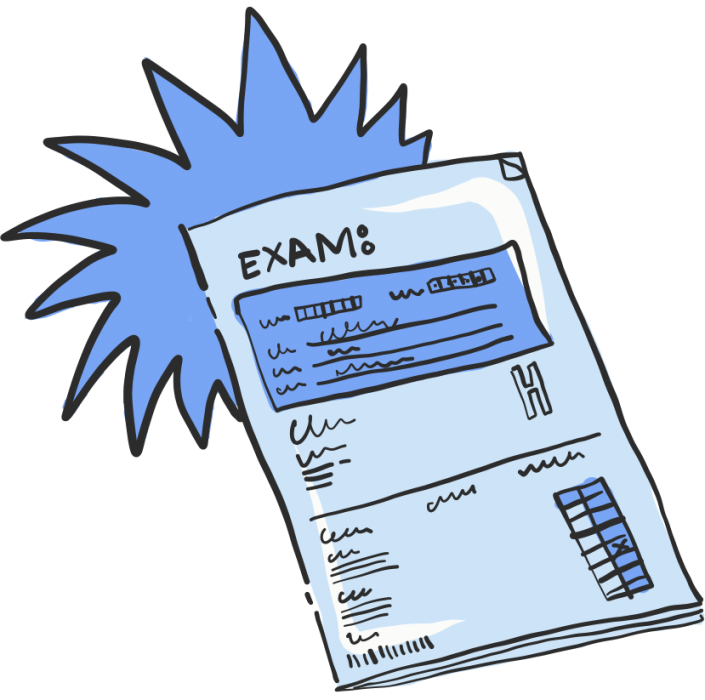 A vector illustration of an Exam paper for Project 2035 | Illustration and Art Direction by Ida Henrich