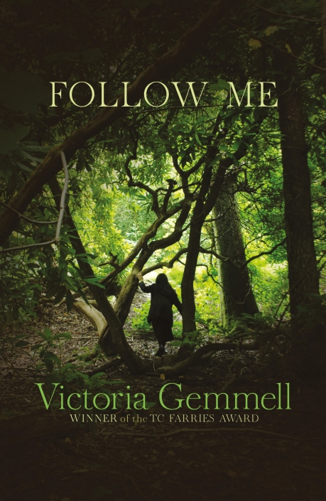 Victoria Gemmell's book Follow Me book cover published by Strident Publishing. The cover shows a girl leaving a dark wood through a bright green opening | Photography and design by Ida Henrich