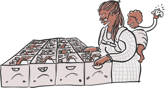 A vector illustration of a food bank for Project 2035 | Illustration and Art Direction by Ida Henrich