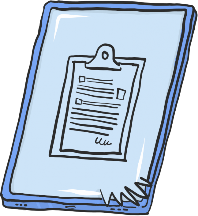 A vector illustration of a clipboard Ipad for Project 2035 | Illustration and Art Direction by Ida Henrich