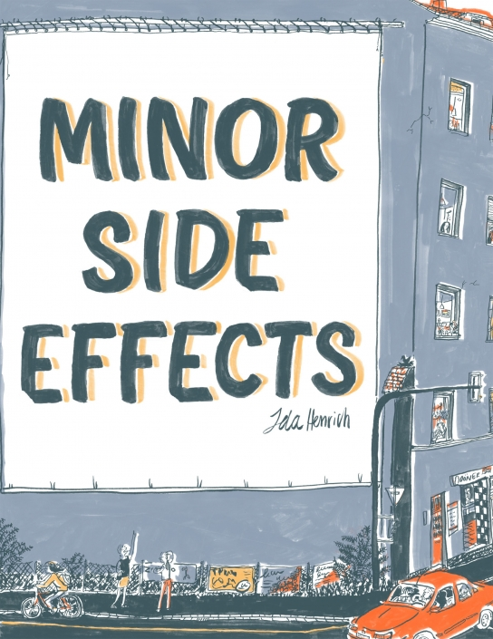 The cover of the Minor side effects cover showing the two main female protagonists pointing up at a wall at a building with 'Minor Side Effects' written on the wall