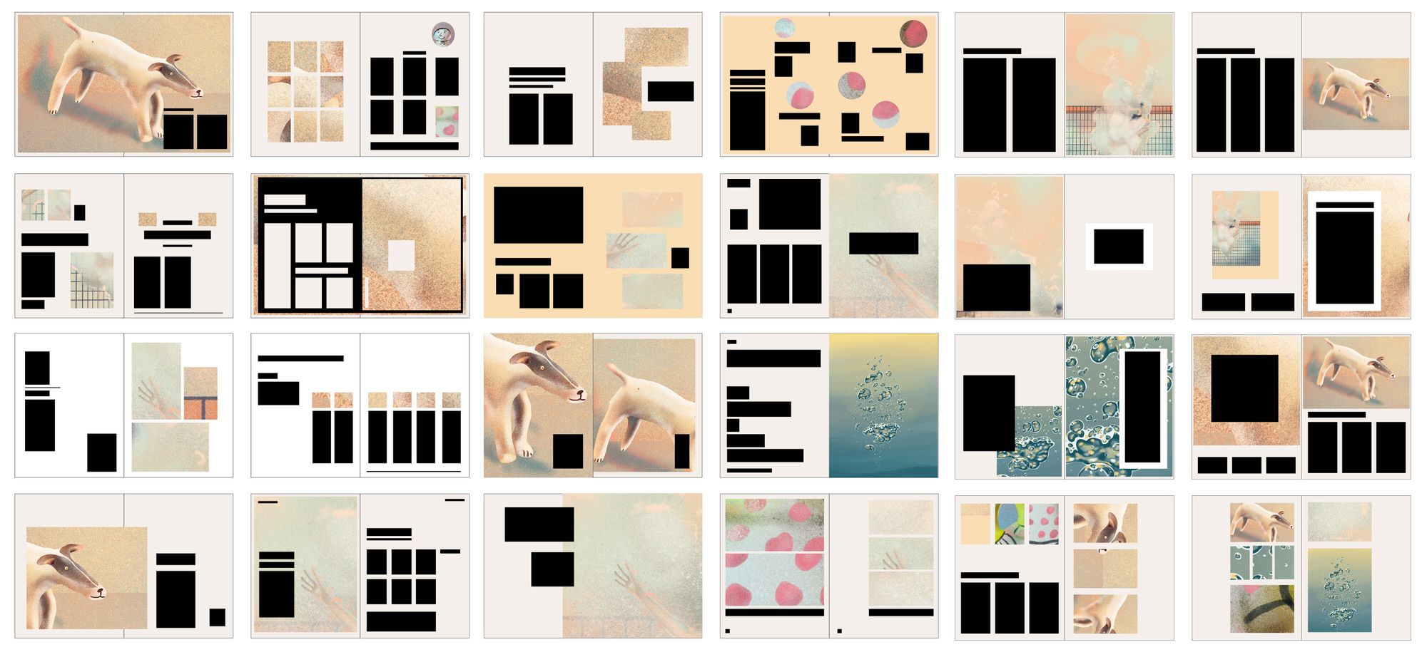 24 thumbnails showing different design layout experiments using Ida Henrich's own illustrations