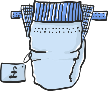 A vector illustration of nappies for Project 2035 | Illustration and Art Direction by Ida Henrich