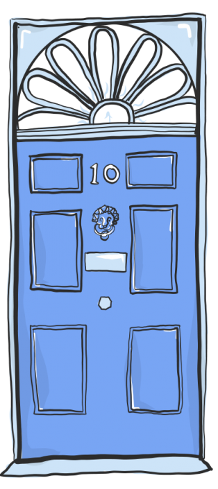 A vector illustration of Number 10 Downing Street for Project 2035 | Illustration and Art Direction by Ida Henrich