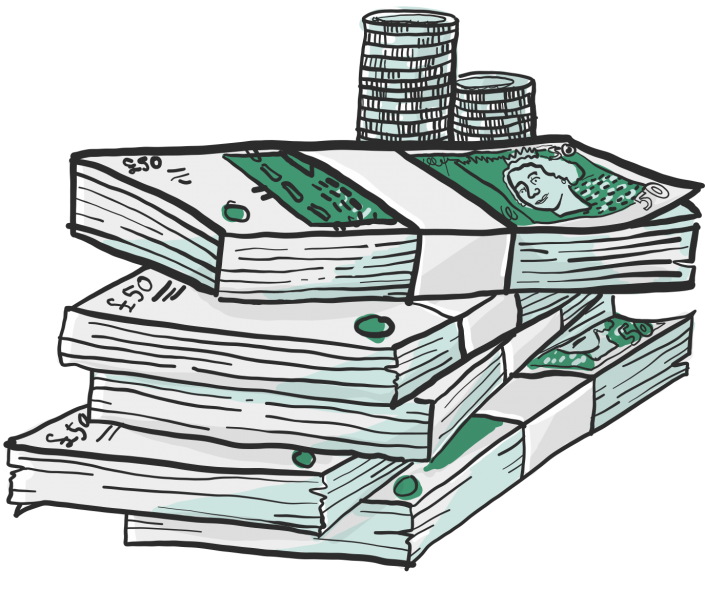 A vector illustration of stack of money for Project 2035 | Illustration and Art Direction by Ida Henrich