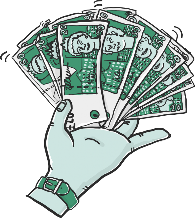 A vector illustration of a hand with a money fan for Project 2035 | Illustration and Art Direction by Ida Henrich