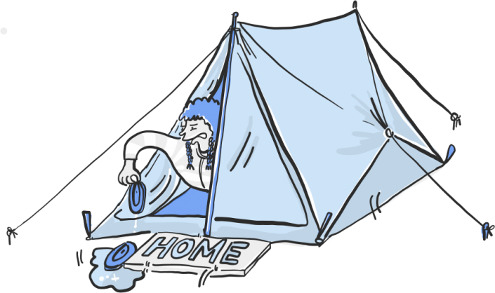 A vector illustration of a child with wet shoes living in a tent for Project 2035 | Illustration and Art Direction by Ida Henrich