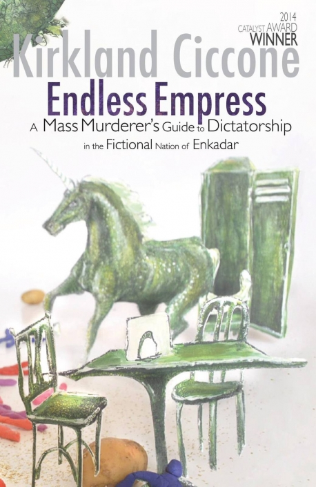Kirkland Ciccone's 'Endless Empress' cover published by Strident Publishing. The cover is showing cut out green illustrations of a table, unicorn and cupboard photographen with a white background.