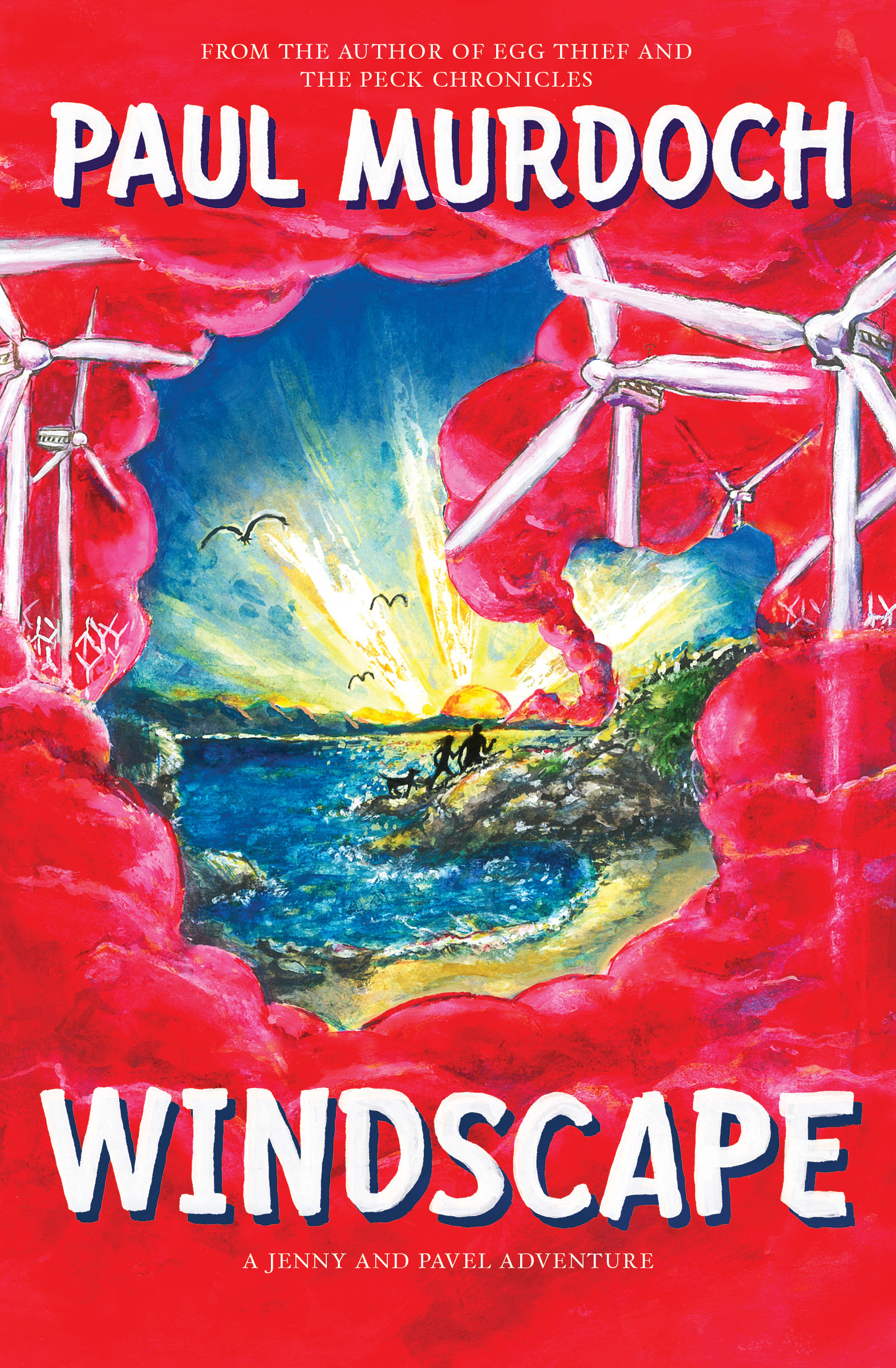 Paul Murdoch's book cover for Windscape published by Neetah Books showing kids and a dog on an adventure surrounded clouds filled with windmills.