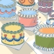 Image shows a view of colourful decorated cakes. One of them has a the face of a woman enjoying a slice of cake drawn into it. She is deliciously licking her lips. | ©Ida Henrich