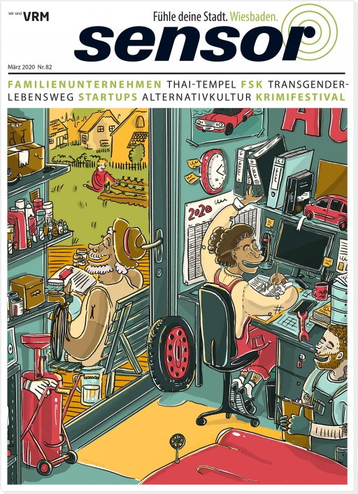 Image of a car garage with staff and family. Cover | Artwork ©Ida Henrich | Mar 19