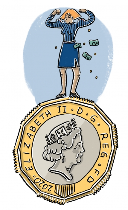 A woman standing on top of a huge pound coin in a power pose. The image speaks about success and wealth.