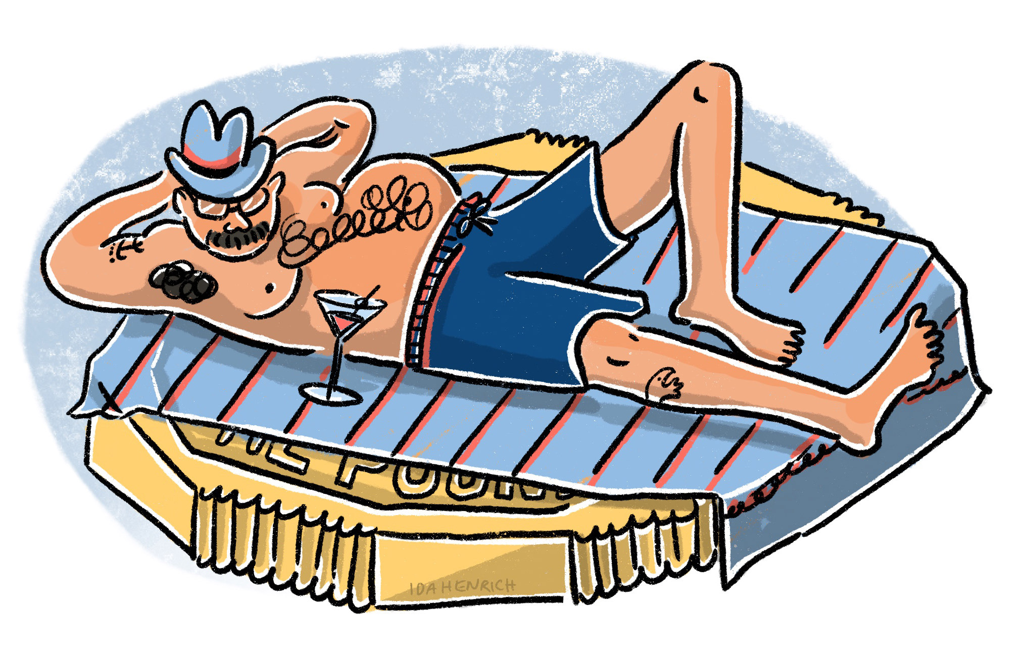 A sunburned man with a mustache and beer belly sunbathing on top of a massive pound coin with a cocktail. The image speaks about wealth, comfort, holiday and richness. ©Ida Henrich.