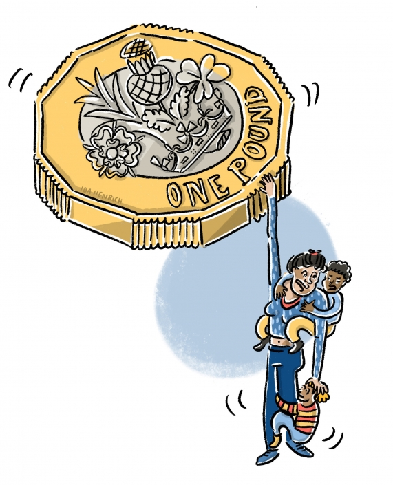 A woman desperately holding onto a massive pound coin with one hand while also trying to keep her family safe. The image speaks about vulnerability, household income and families with a low income. ©Ida Henrich