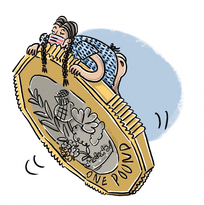 A girl with plaited pigtails in a hospital dress leaning on a huge pond coin. The image talks about hospitals, health, the NHS, income in relation to money and finance.