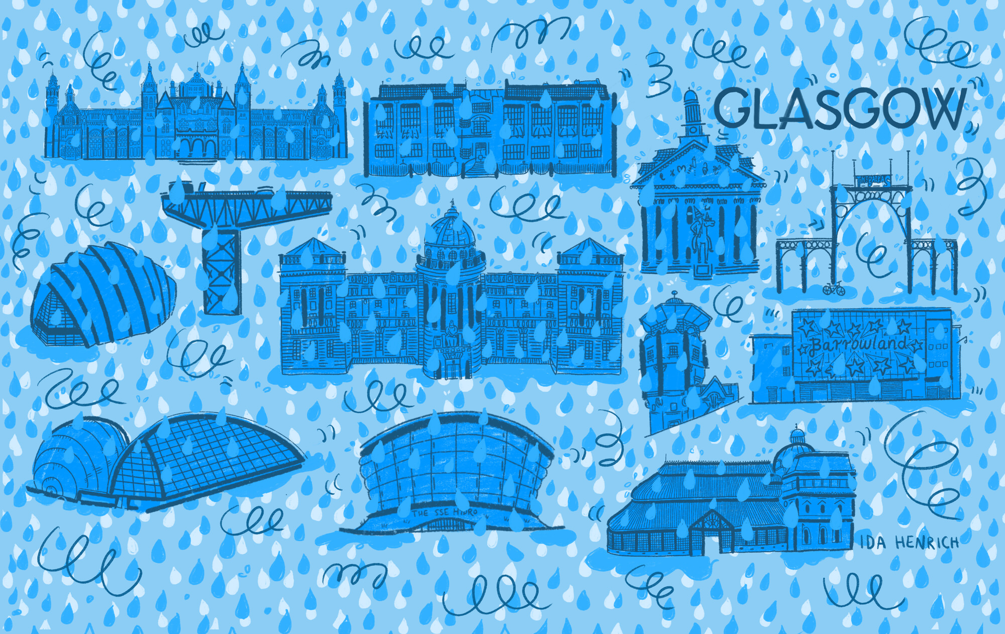 The image shows Glasgow tourist attractions in the rain. The attractions include: GoMA, Finnieston Crane, SSE Hydro, SEC Armadillo, The Glasgow School of Art Mackintosh building, Barrowland Ballroom, Peoples Palace, the Mitchell Library, The Glasgow Lighthouse, The Science Museum and the Kelvingrove Art gallery. Image by Ida Henrich