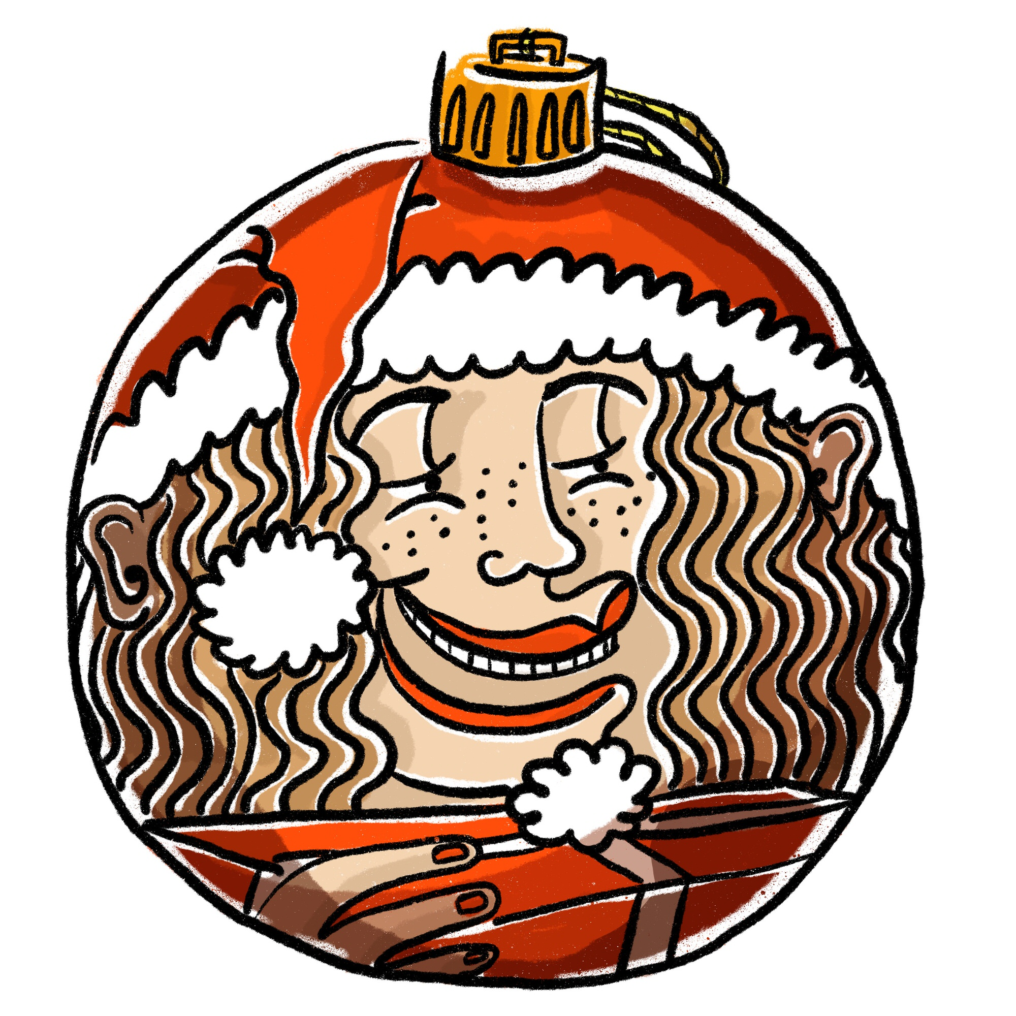 A comic style Christmas bobble reflects Ida grinning holding a large present. The background is white   ©Ida Henrich