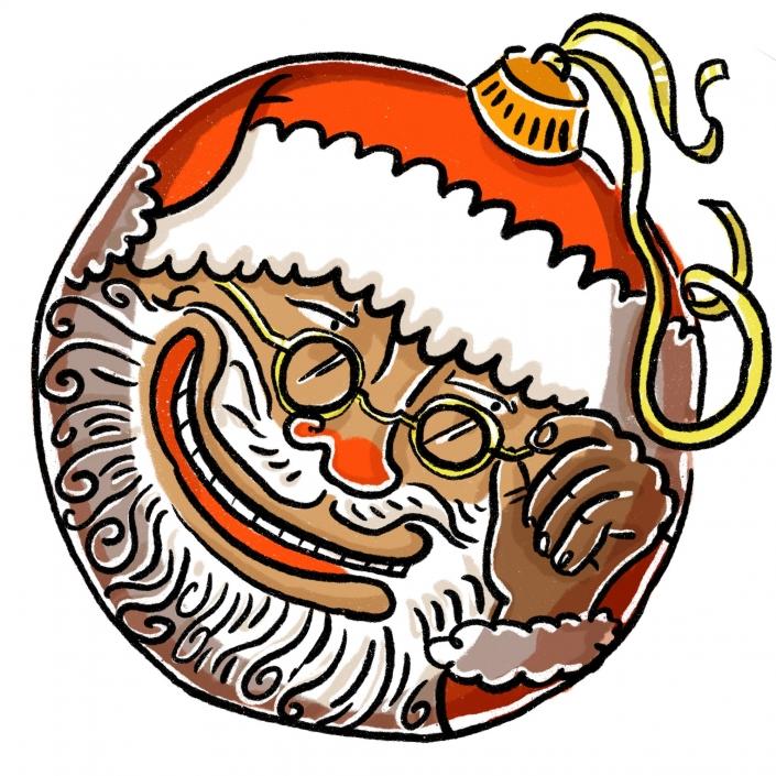 A Christmas bobble reflecting Santa's face   ©Ida Henrich