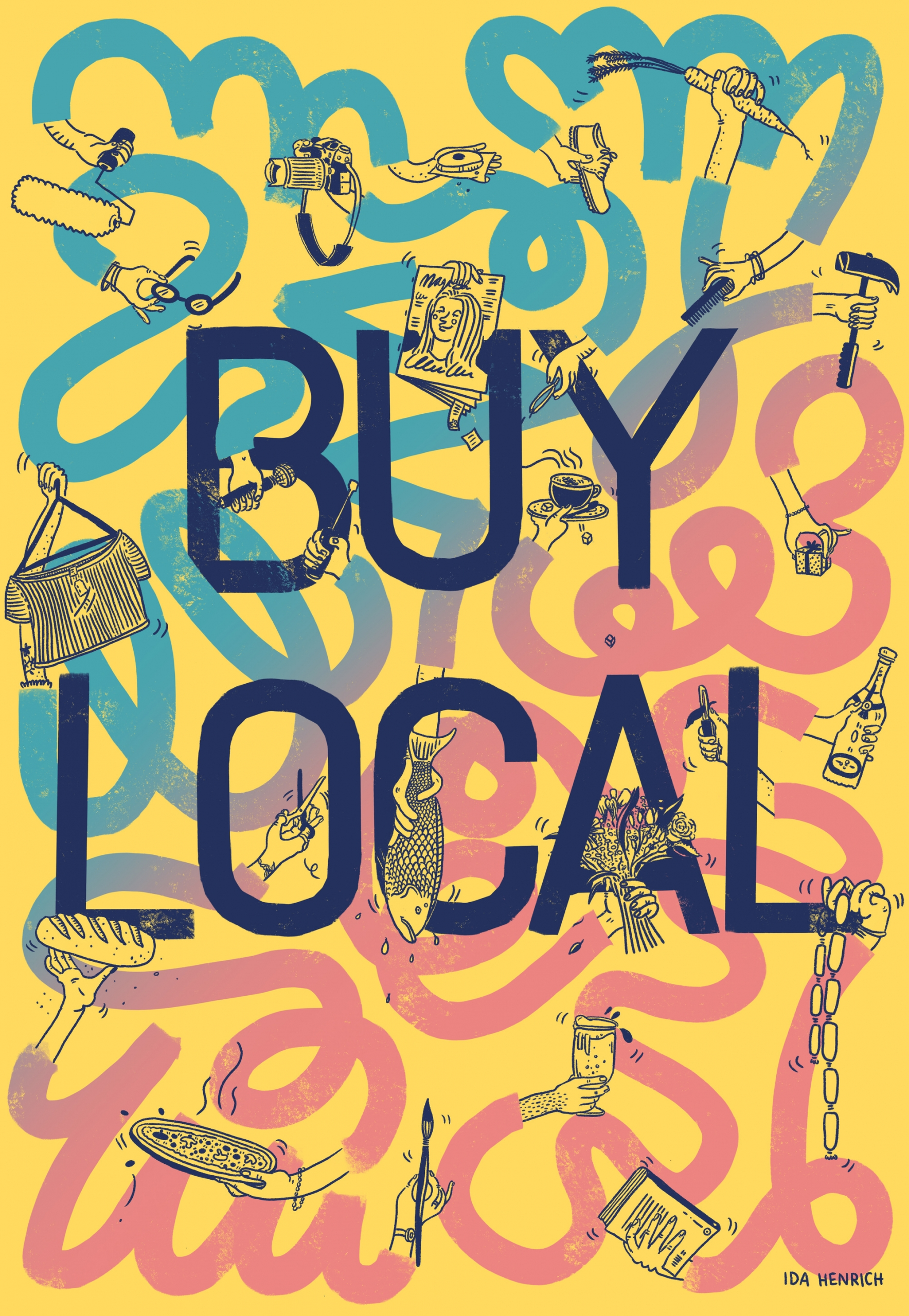 Image showing colourful arms and hands holding items from local businesses such as magazines, fish, flowers, beer, pizza, bread and books. Within the arms we see the words: 'Buy Local'. | ©Ida Henrich