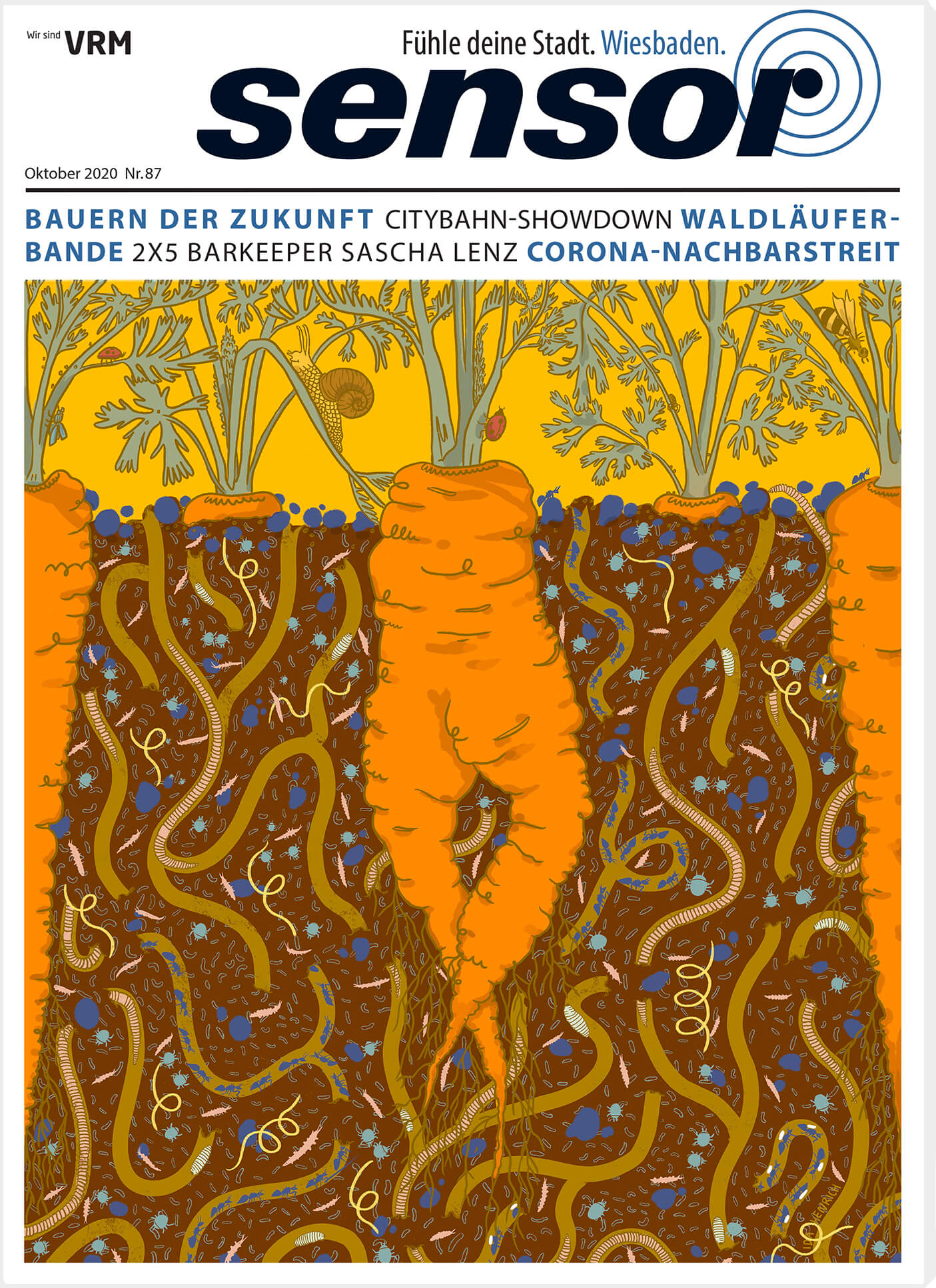 Images a magazine cover with a carrot surrounded by bugs, slugs, worms and smaller organisms.