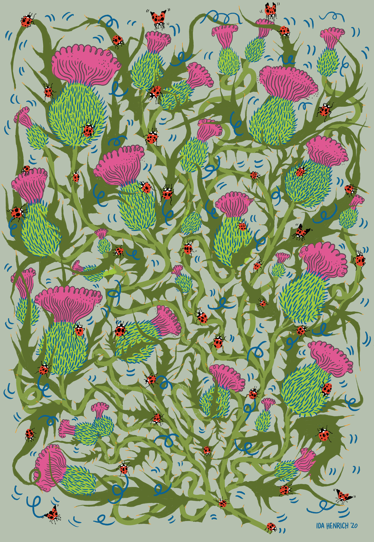 An illustrated pattern of thistles and ladybirds. ©Ida Henrich