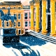 Image shows the Duke of Wellington on Glasgow's Royal Exchange Square in the snow. The image is bright and colourful