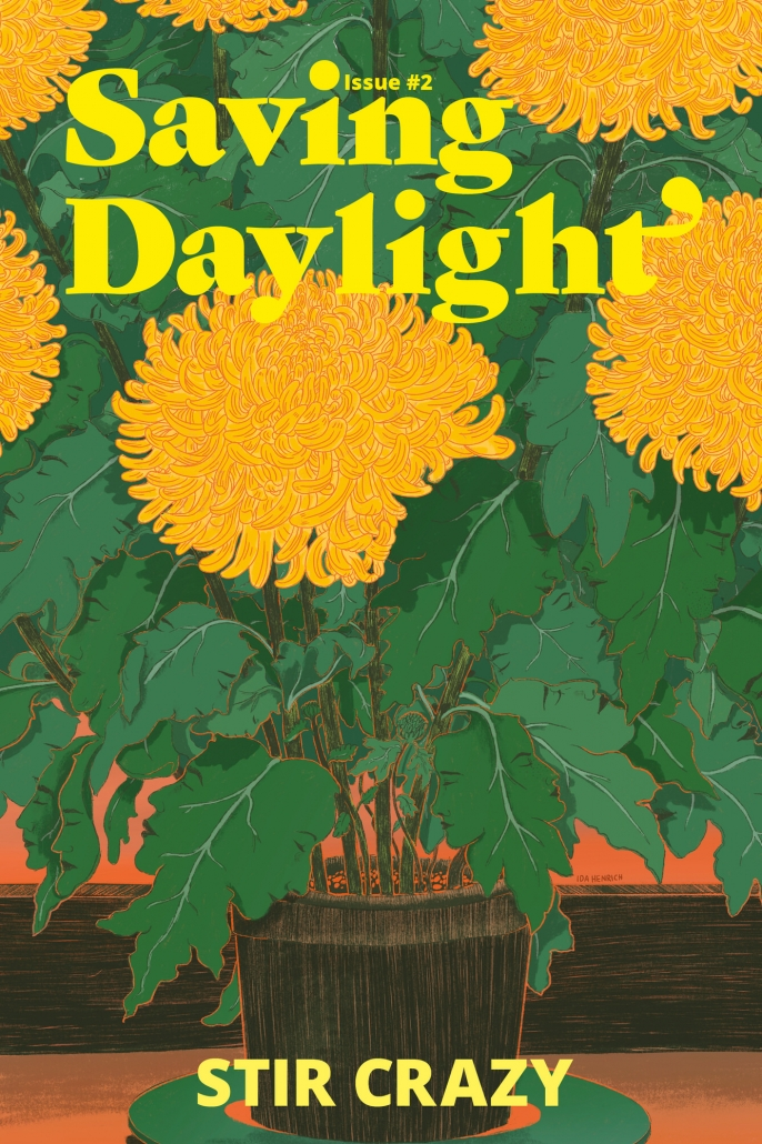 Saving Daylight Magazine cover illustrated and designed by Ida Henrich. It featuring a chrysanthemum plant with leaves which look like face.