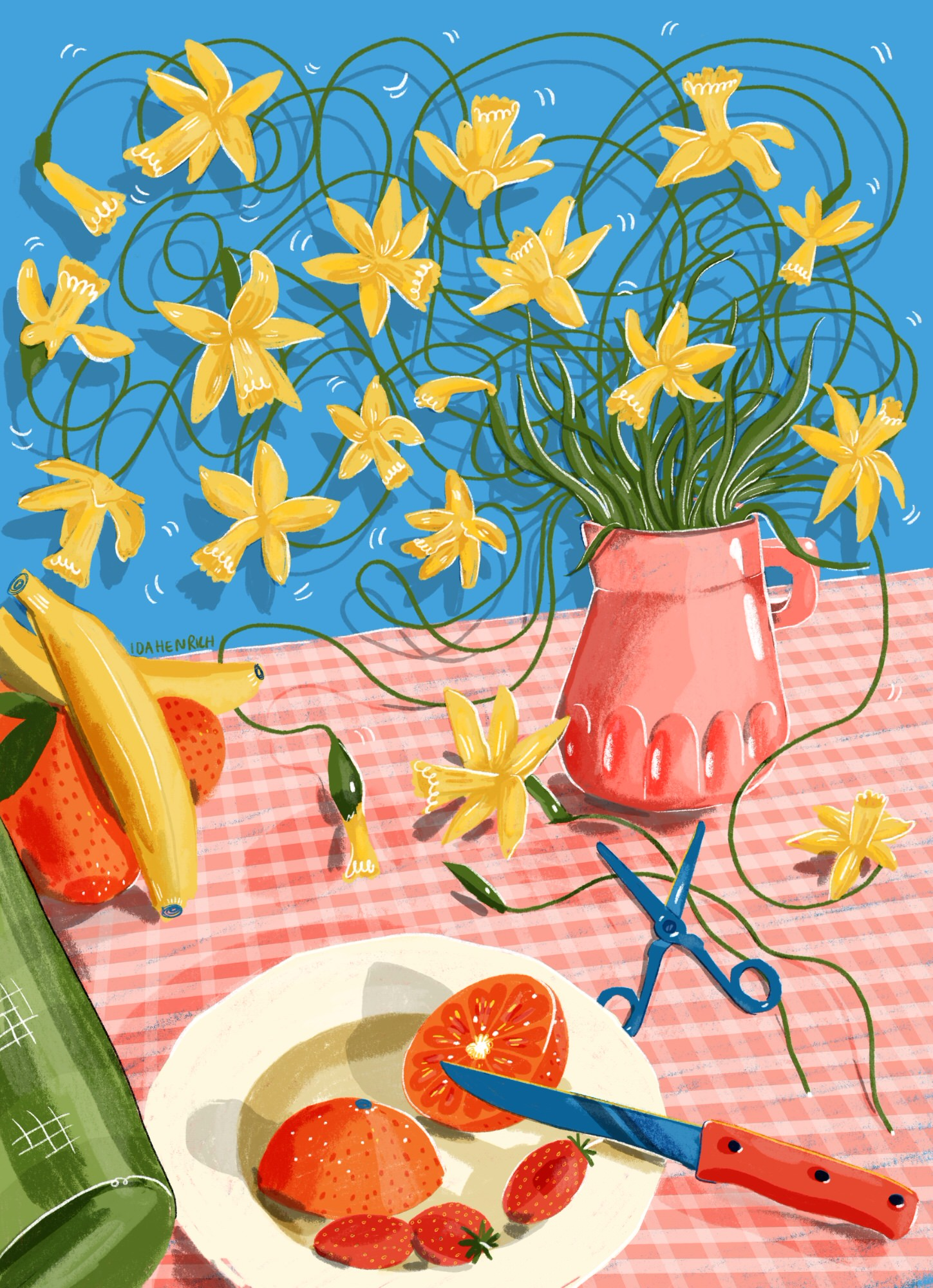 Image shows a kitchen table with wild daffodils and fruit. Image by Ida Henrich